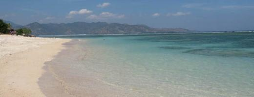 White sand beach in Gili Islands
